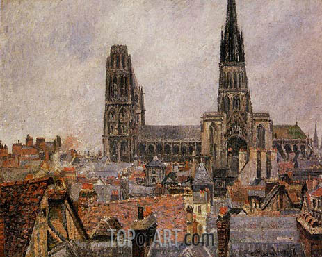 The Roofs of Old Rouen - Grey Weather, Cathedral, 1896 | Pissarro | Gemälde Reproduktion