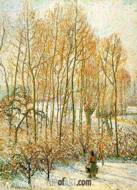 Morning Sunlight on the Snow, Eragny-sur-Epte, 1895 | Pissarro| Painting Reproduction
