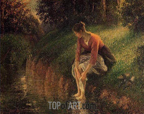 Young Woman Bathing Her Feet, 1895 | Pissarro | Gemälde Reproduktion