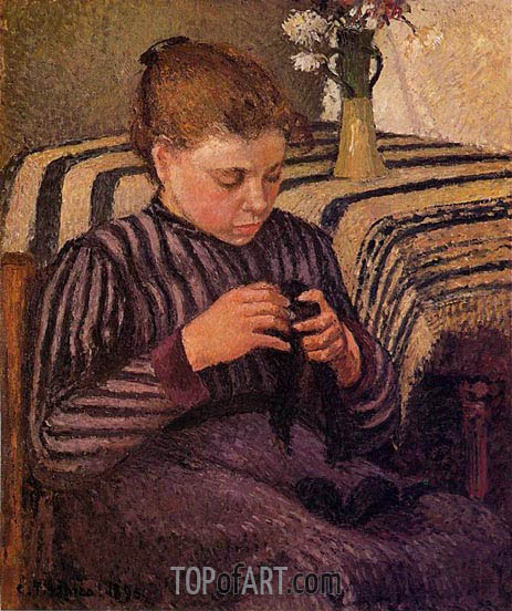Young Girl Mending Her Stockings, 1895 | Pissarro | Painting Reproduction