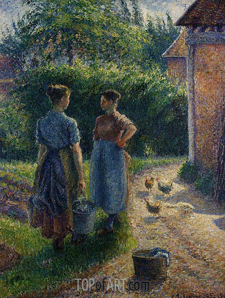 Peasants Chatting in the Farmyard, Eragny, 1895 | Pissarro | Gemälde Reproduktion