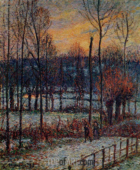 The Effect of Snow, Sunset, Eragny, 1895 | Pissarro | Painting Reproduction