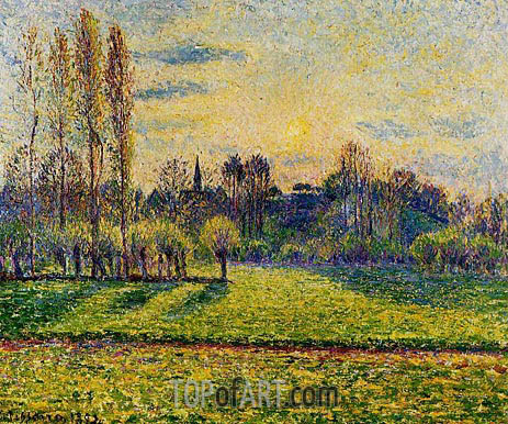 View of Bazincourt, Sunset, 1892 | Pissarro | Gemälde Reproduktion