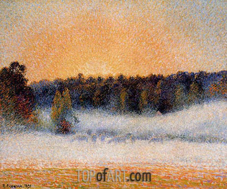 Pissarro | Setting Sun and Fog, Eragny, 1891
