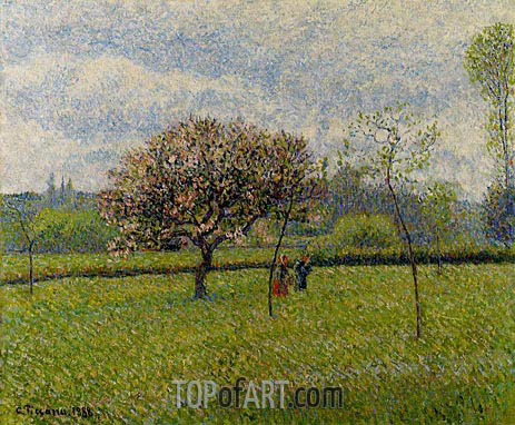 Flowering Apple Trees at Eragny, 1888 | Pissarro | Painting Reproduction