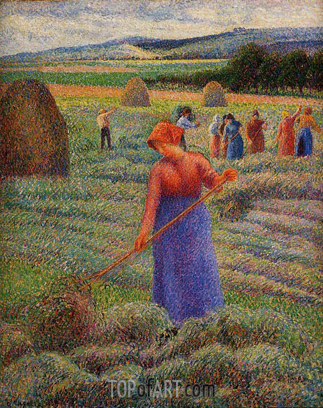 Haymakers at Eragny, 1889 | Pissarro | Painting Reproduction