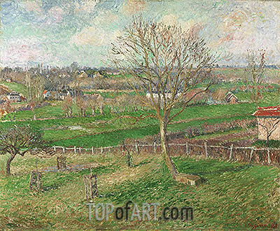 The Field and the Great Walnut Tree in Winter, Eragny, 1885 | Pissarro | Painting Reproduction