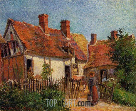 Old Houses at Eragny, 1884 | Pissarro | Painting Reproduction