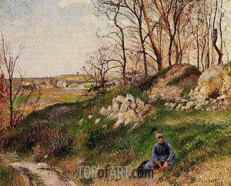 The Chou Quarries, Pontoise, 1882 | Pissarro | Painting Reproduction