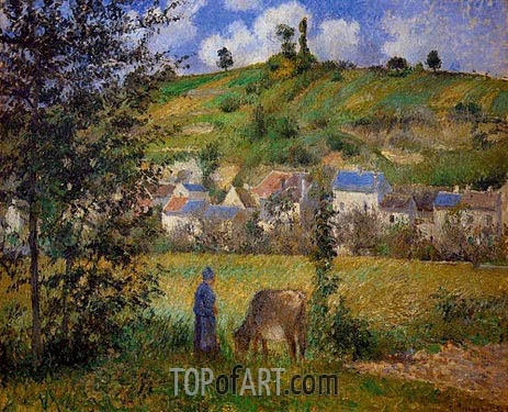Landscape at Chaponval, 1880 | Pissarro| Painting Reproduction