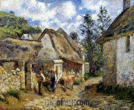 A Street in Auvers (Thatched Cottages and a Cow), 1880 | Pissarro| Painting Reproduction