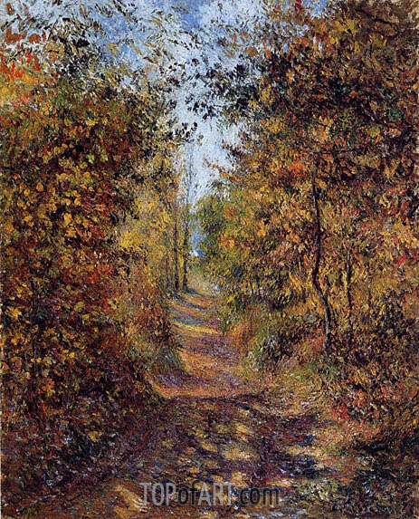 A Path in the Woods, Pontoise, 1879 | Pissarro | Gemälde Reproduktion
