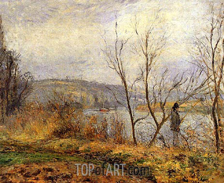 The Banks of the Oise, Pontoise (Man Fishing), 1878 | Pissarro | Painting Reproduction