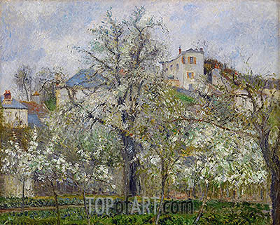 Kitchen Garden with Trees in Flower, Spring, 1877 | Pissarro | Gemälde Reproduktion