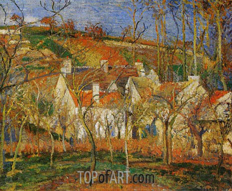 Red Roofs, Corner of a Village, Winter, 1877 | Pissarro| Painting Reproduction