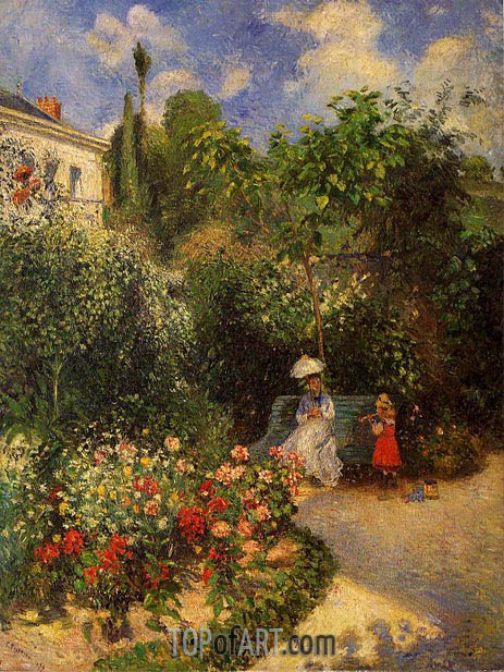 The Garden at Pontoise, 1877 | Pissarro | Gemälde Reproduktion