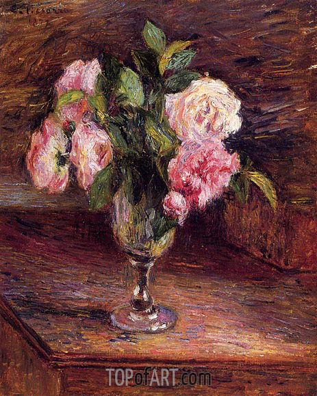 Roses in a Glass, 1877 | Pissarro | Painting Reproduction