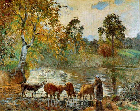 The Pond at Montfoucault, 1875 | Pissarro | Painting Reproduction