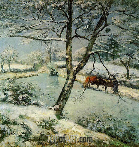 Winter at Montvoucault (The Effect of Snow), 1875 | Pissarro | Painting Reproduction
