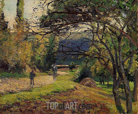 Landscape in the Woods, Pontoise, 1875 | Pissarro | Painting Reproduction