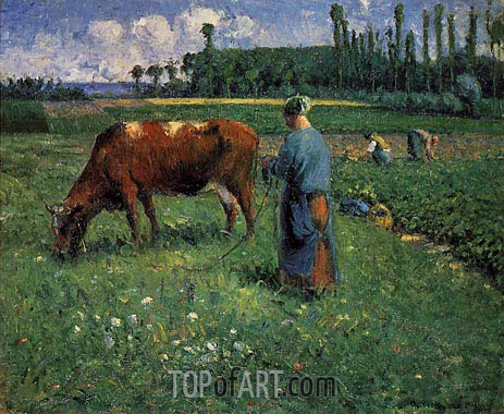 Girl Tending a Cow in a Pasture, 1874 | Pissarro| Painting Reproduction