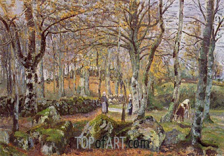 Landscape with Rocks, Montfoucault, 1874 | Pissarro | Painting Reproduction
