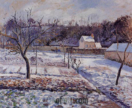 L'Hermitage, Pontoise, Snow Effect, 1874 | Pissarro| Painting Reproduction