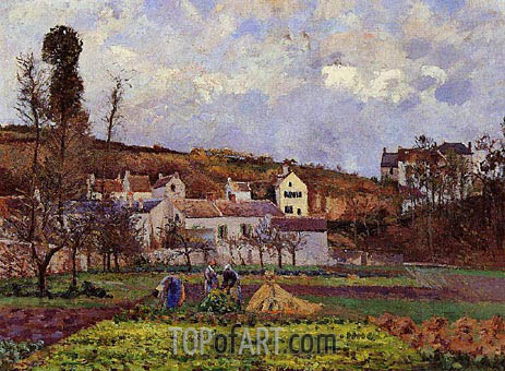 Kitchen Gardens at l'Hermitage, Pontoise, 1873 | Pissarro | Painting Reproduction