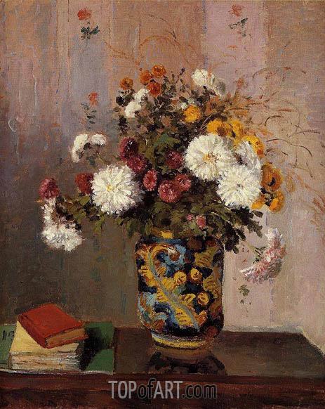 Bouquet of Flowers, Chrysanthemums in a Chinese Vase, c.1873 | Pissarro | Painting Reproduction