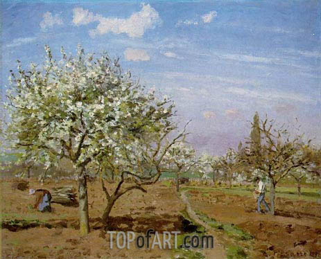 Orchard in Bloom, Louveciennes, 1872 | Pissarro | Gemälde Reproduktion