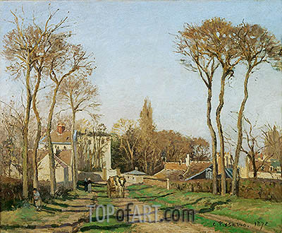 The Entrance to the Village of Voisins, 1872 | Pissarro | Gemälde Reproduktion