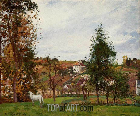 Landscape with a White Horse in a Meadow, 1872 | Pissarro | Gemälde Reproduktion