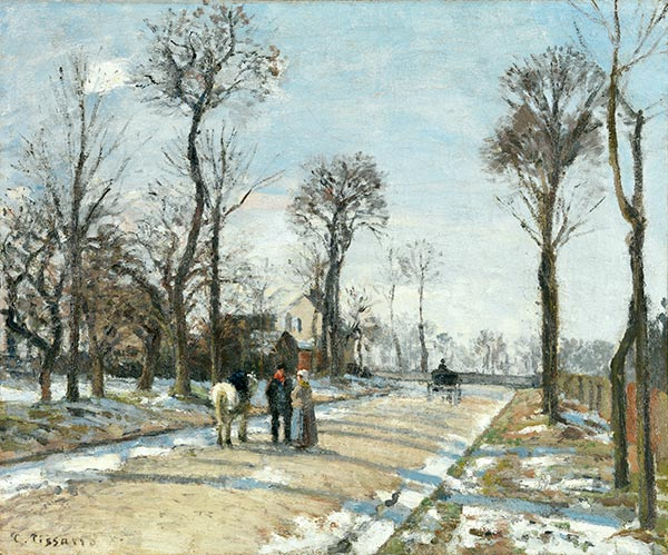 Street, Winter Sunlight and Snow, 1872 | Pissarro | Gemälde Reproduktion