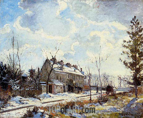 Louveciennes Road, The Effect of Snow, 1872 | Pissarro | Painting Reproduction
