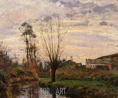 Landscape with Small Stream, 1872 | Pissarro | Painting Reproduction