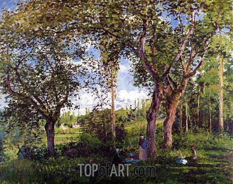 Landscape with Stollers Relaxing under the Trees, 1872 | Pissarro | Painting Reproduction