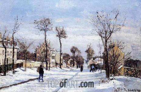 Street in the Snow, Louveciennes, c.1872 | Pissarro | Painting Reproduction