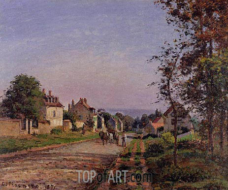 Outskirts of Louveciennes, the Road, 1871 | Pissarro | Gemälde Reproduktion