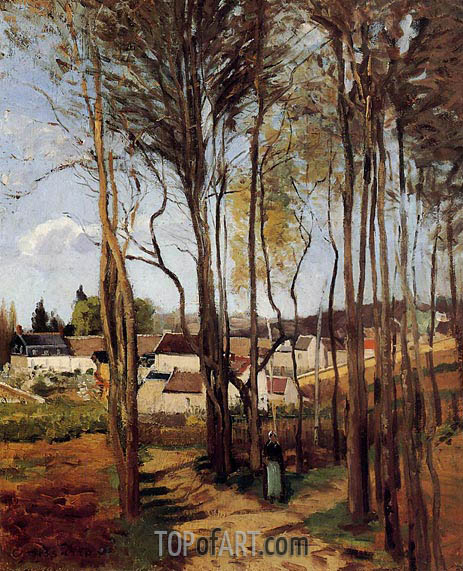 Pissarro | A Village Through the Trees, c.1868