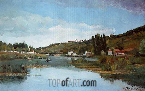 The Banks of the Marne at Chennevieres, 1864 | Pissarro | Painting Reproduction