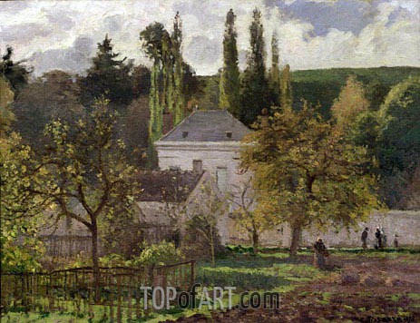 House in the Hermitage, Pontoise, 1873 | Pissarro| Painting Reproduction