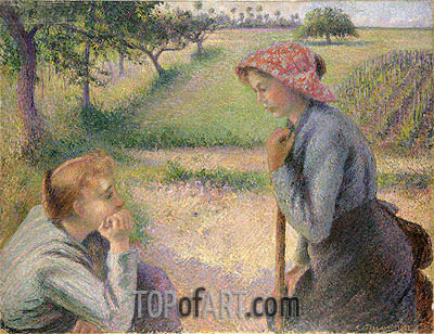 Two Young Peasant Women, 1892 | Pissarro | Gemälde Reproduktion