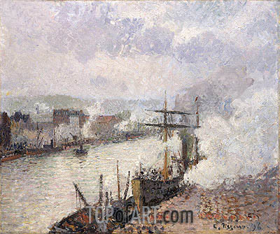 Pissarro | Steamboats in the Port of Rouen, 1896