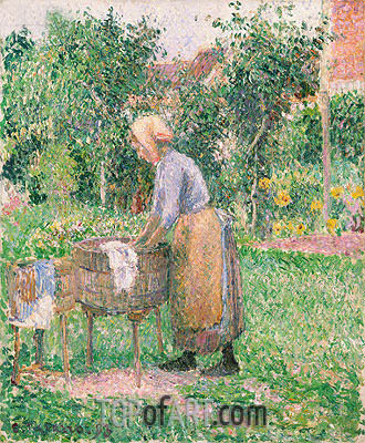 A Washerwoman at Eragny, 1893 | Pissarro| Painting Reproduction