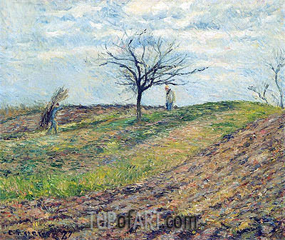 Cultivated Land in Winter, a Man Carrying Fagots, 1877 | Pissarro | Painting Reproduction