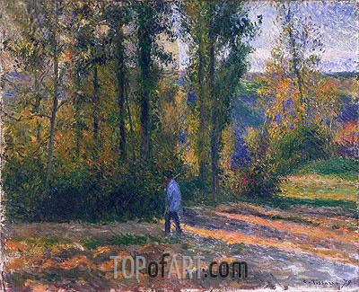 Landscape with a Hunter, Pontoise, 1879 | Pissarro | Painting Reproduction