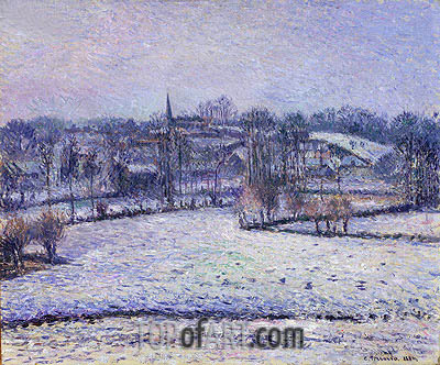 Snow Scene at Eragny (View of Bazincourt), 1884 | Pissarro | Painting Reproduction