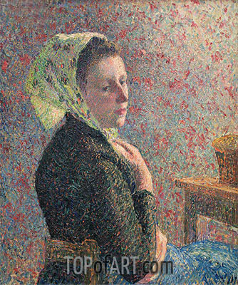 Woman Wearing a Green Headscarf, 1893 | Pissarro| Painting Reproduction