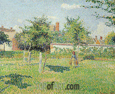 Woman in the Meadow at Eragny, Spring, 1887 | Pissarro| Painting Reproduction