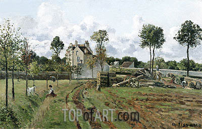 Pontoise Landscape, c.1872 | Pissarro| Painting Reproduction